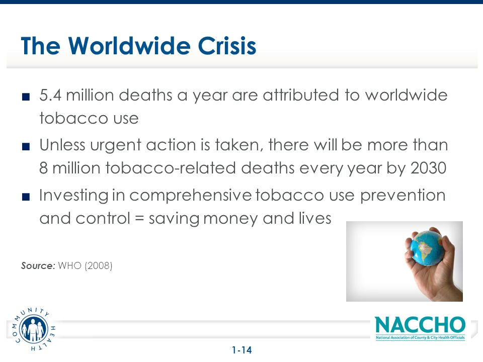5.4 million deaths a year are attributed to worldwide tobacco use Unless urgent action is taken, there will be more than 8 million tobacco-related deaths every year by 2030 Investing in comprehensive tobacco use prevention and control = saving money and lives Source: WHO (2008) The Worldwide Crisis 1-14