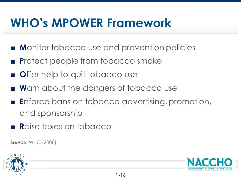 M onitor tobacco use and prevention policies P rotect people from tobacco smoke O ffer help to quit tobacco use W arn about the dangers of tobacco use E nforce bans on tobacco advertising, promotion, and sponsorship R aise taxes on tobacco Source: WHO (2008) WHOs MPOWER Framework 1-16