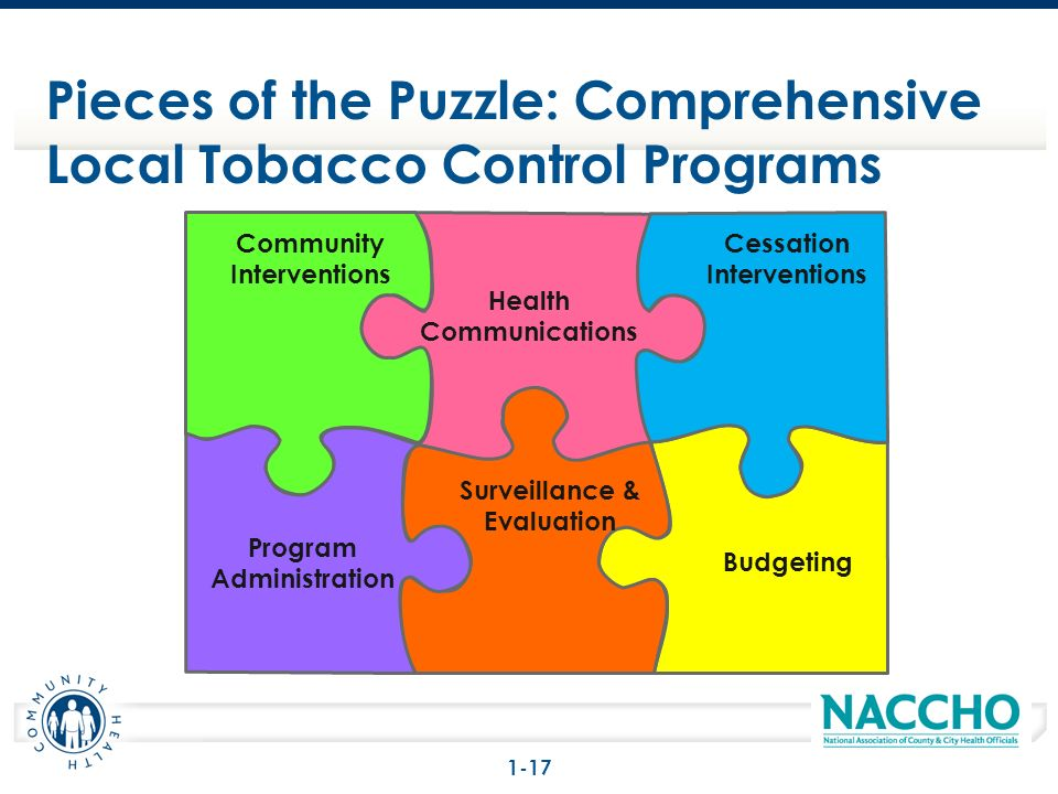 Pieces of the Puzzle: Comprehensive Local Tobacco Control Programs Community Interventions Health Communications Cessation Interventions Program Admin