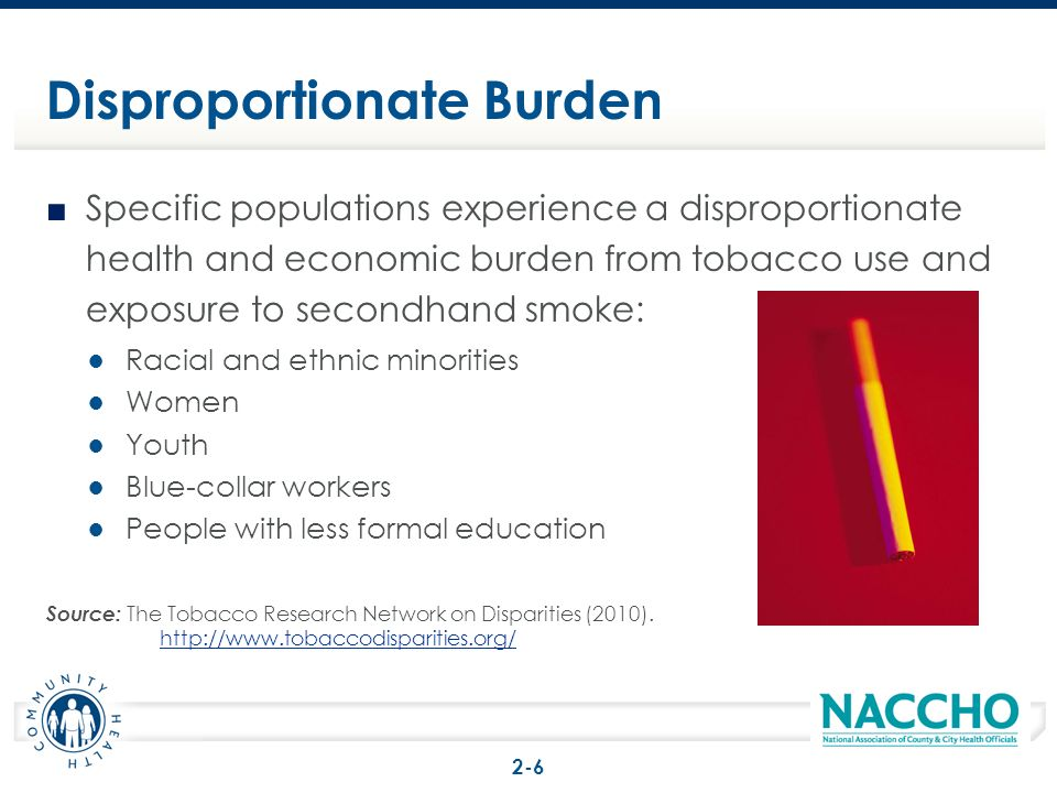 Specific populations experience a disproportionate health and economic burden from tobacco use and exposure to secondhand smoke: Racial and ethnic min