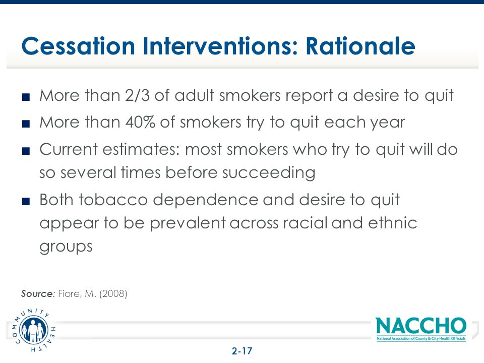 More than 2/3 of adult smokers report a desire to quit More than 40% of smokers try to quit each year Current estimates: most smokers who try to quit will do so several times before succeeding Both tobacco dependence and desire to quit appear to be prevalent across racial and ethnic groups Source : Fiore, M.