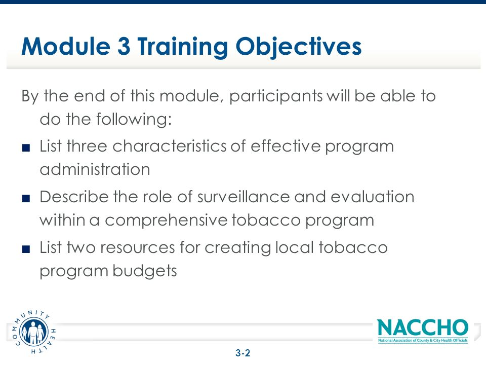 Module 3 Training Objectives By the end of this module, participants will be able to do the following: List three characteristics of effective program