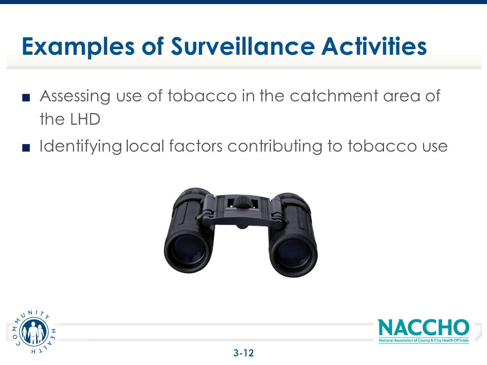 Assessing use of tobacco in the catchment area of the LHD Identifying local factors contributing to tobacco use Examples of Surveillance Activities 3-12