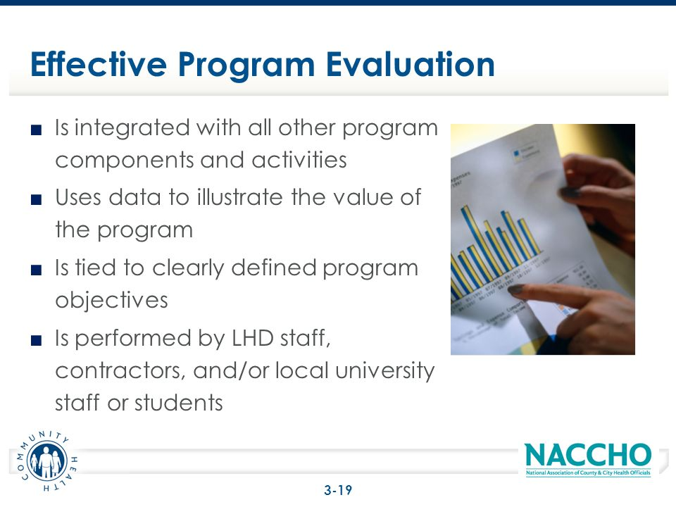 Is integrated with all other program components and activities Uses data to illustrate the value of the program Is tied to clearly defined program objectives Is performed by LHD staff, contractors, and/or local university staff or students Effective Program Evaluation 3-19