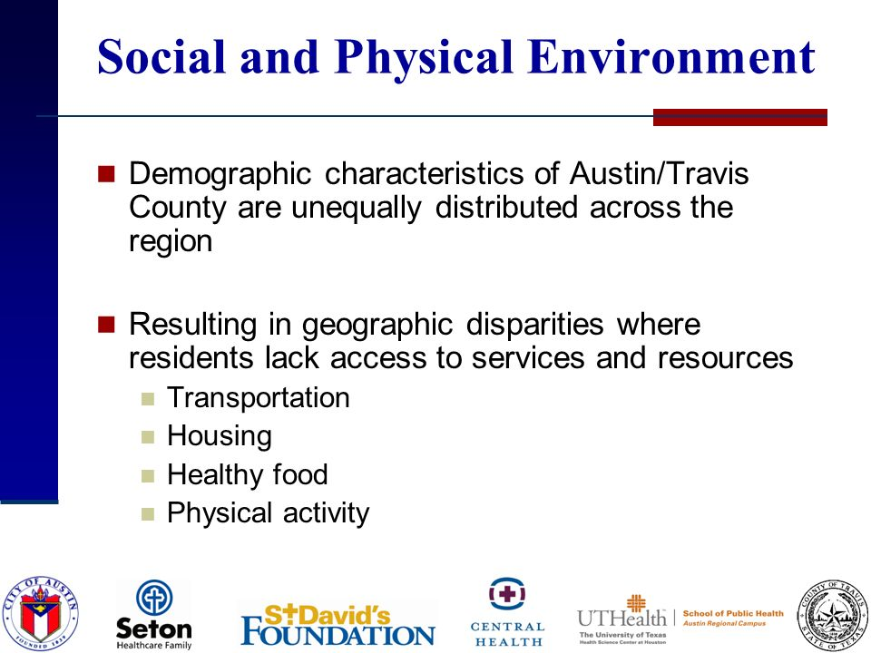 Social and Physical Environment Demographic characteristics of Austin/Travis County are unequally distributed across the region Resulting in geographi
