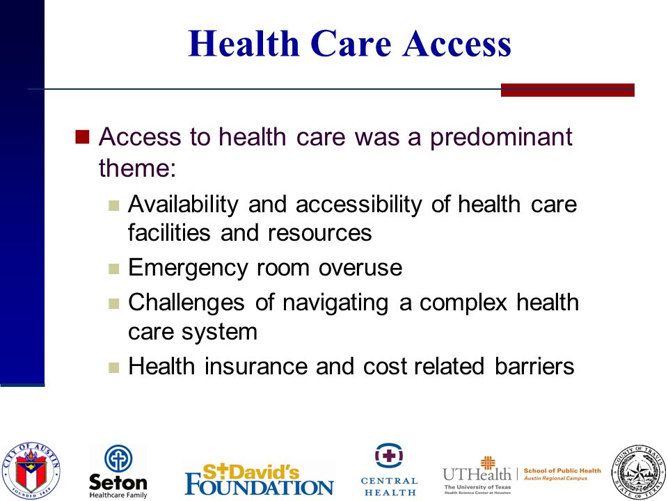 Health Care Access Access to health care was a predominant theme: Availability and accessibility of health care facilities and resources Emergency roo