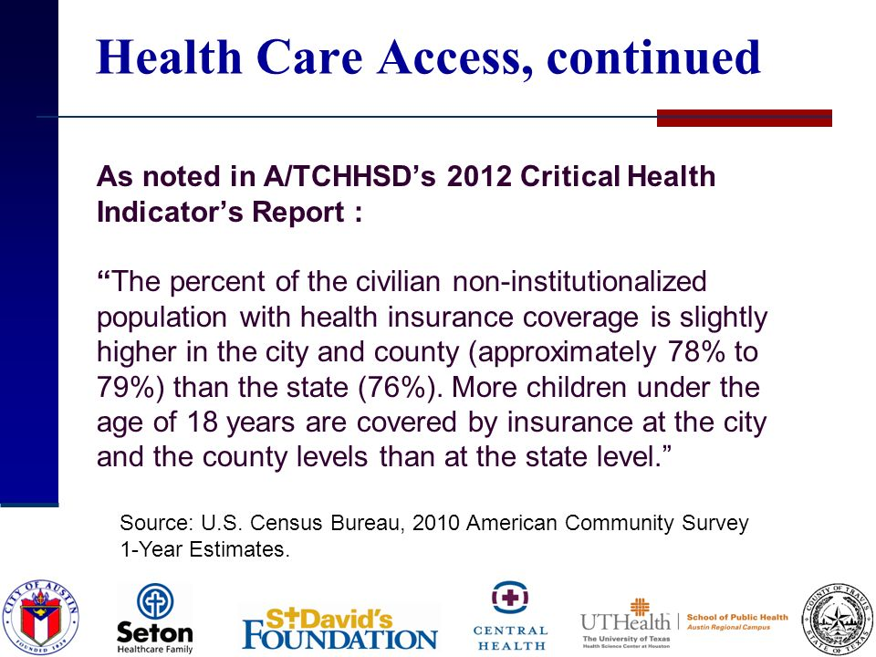 Health Care Access, continued As noted in A/TCHHSDs 2012 Critical Health Indicators Report :The percent of the civilian non-institutionalized populati