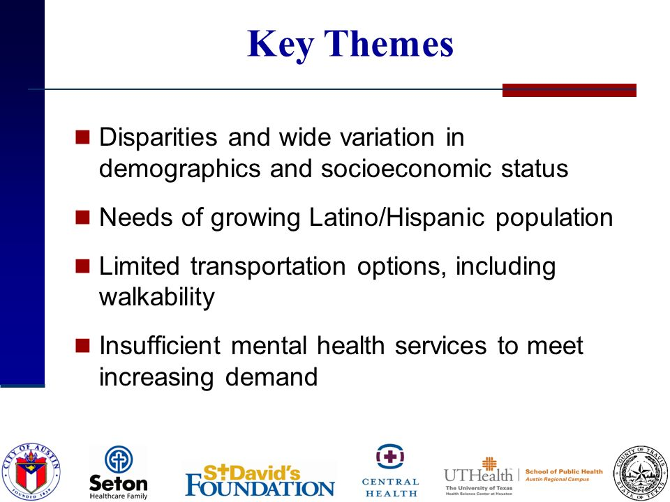 Key Themes Disparities and wide variation in demographics and socioeconomic status Needs of growing Latino/Hispanic population Limited transportation