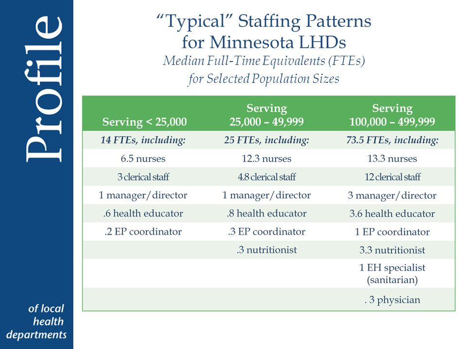 Typical Staffing Patterns for Minnesota LHDs Median Full-Time Equivalents (FTEs) for Selected Population Sizes