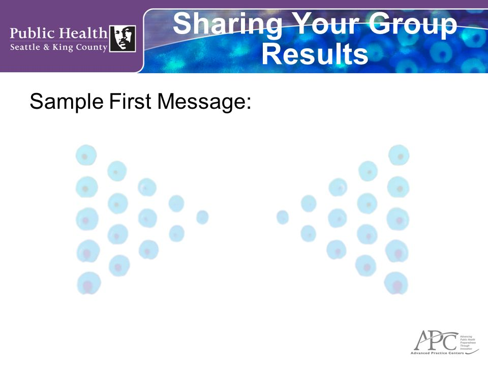 Sharing Your Group Results Sample First Message: