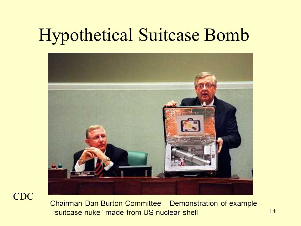 14 Hypothetical Suitcase Bomb Chairman Dan Burton Committee – Demonstration of example suitcase nuke made from US nuclear shell CDC