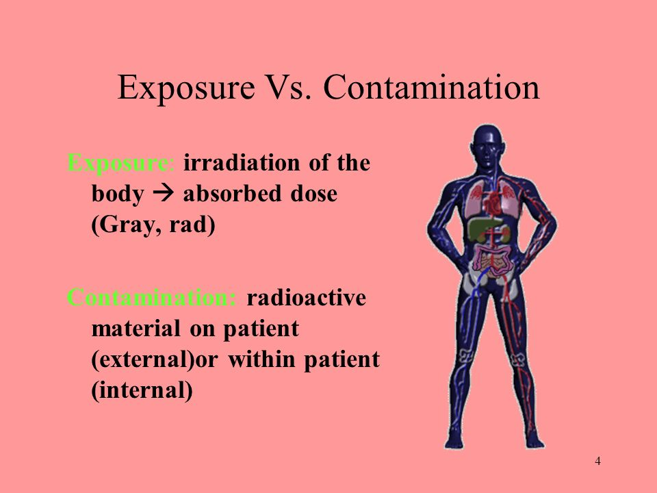 4 Exposure Vs. Contamination Exposure: irradiation of the body absorbed dose (Gray, rad) Contamination: radioactive material on patient (external)or w