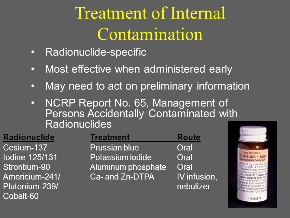 59 Radionuclide-specific Most effective when administered early May need to act on preliminary information NCRP Report No. 65, Management of Persons A