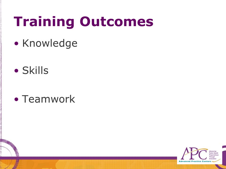 Training Outcomes Knowledge Skills Teamwork
