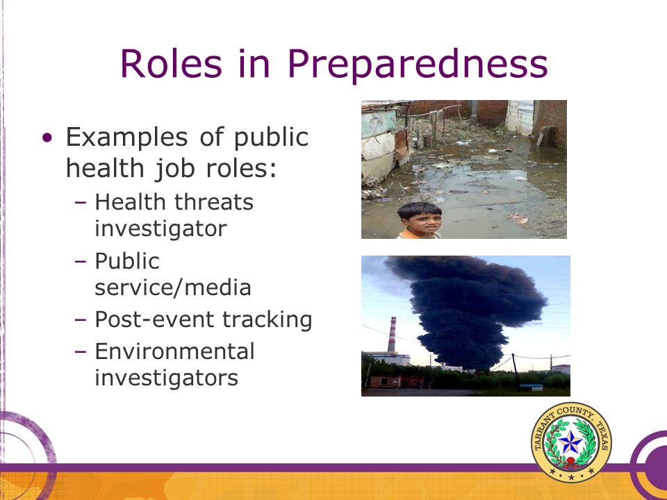Roles in Preparedness Examples of public health job roles: –Health threats investigator –Public service/media –Post-event tracking –Environmental inve