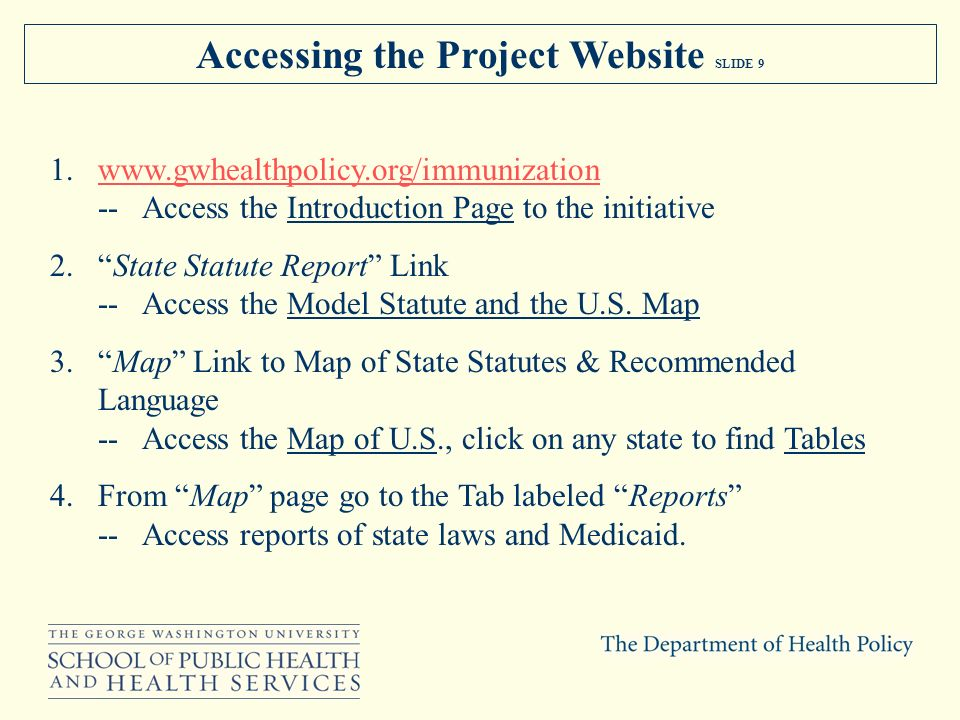 Accessing the Project Website SLIDE 9 1.www.gwhealthpolicy.org/immunizationwww.gwhealthpolicy.org/immunization -- Access the Introduction Page to the