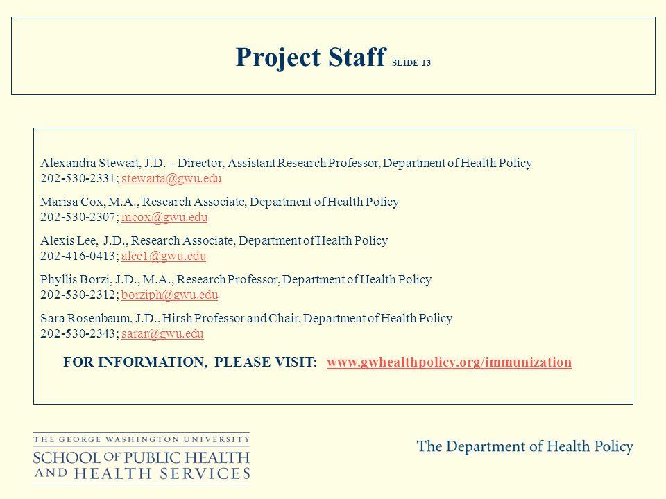 Project Staff SLIDE 13 Alexandra Stewart, J.D. – Director, Assistant Research Professor, Department of Health Policy 202-530-2331; stewarta@gwu.eduste