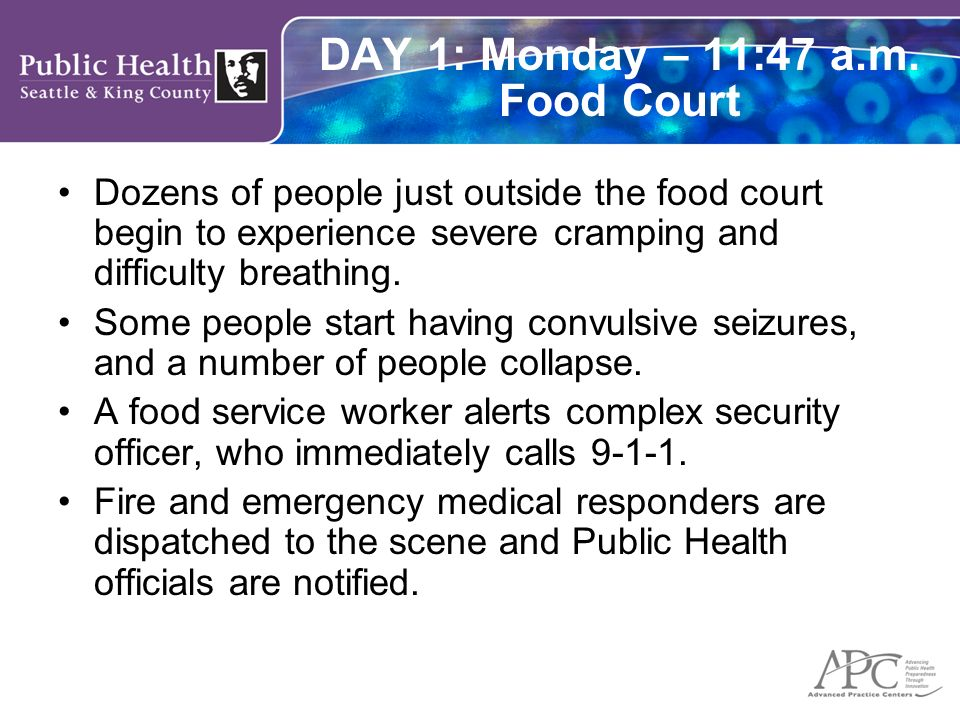 DAY 1: Monday – 11:47 a.m. Food Court Dozens of people just outside the food court begin to experience severe cramping and difficulty breathing. Some
