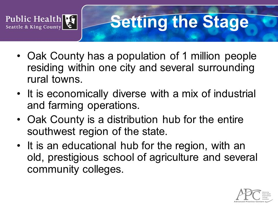Setting the Stage Oak County has a population of 1 million people residing within one city and several surrounding rural towns. It is economically div