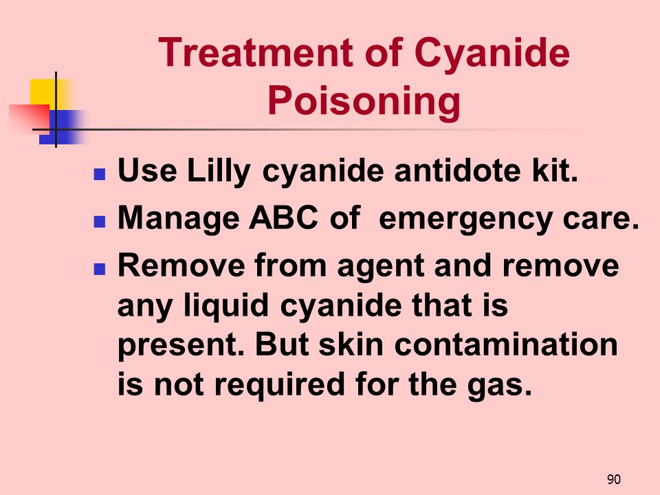 89 Diagnosis of Cyanide Poisoning Clinical diagnosis mainly. CYANTOSNO paper. Blood cyanide of 0.2 g/ml –Clinical toxicity begins. Blood cyanide of 1.