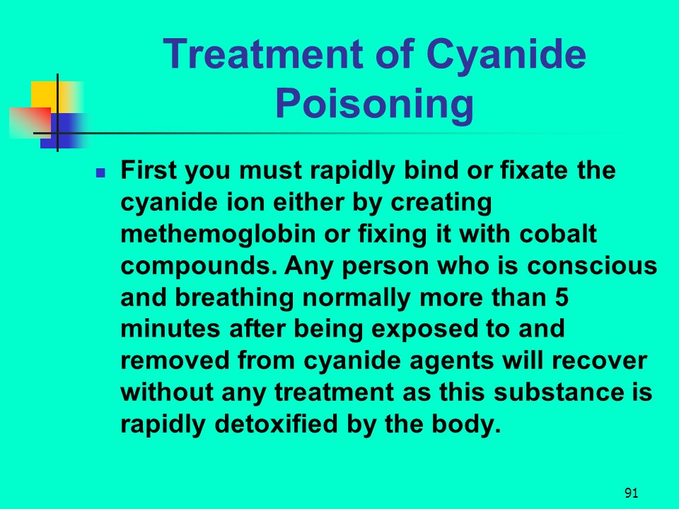 90 Treatment of Cyanide Poisoning Use Lilly cyanide antidote kit. Manage ABC of emergency care. Remove from agent and remove any liquid cyanide that i