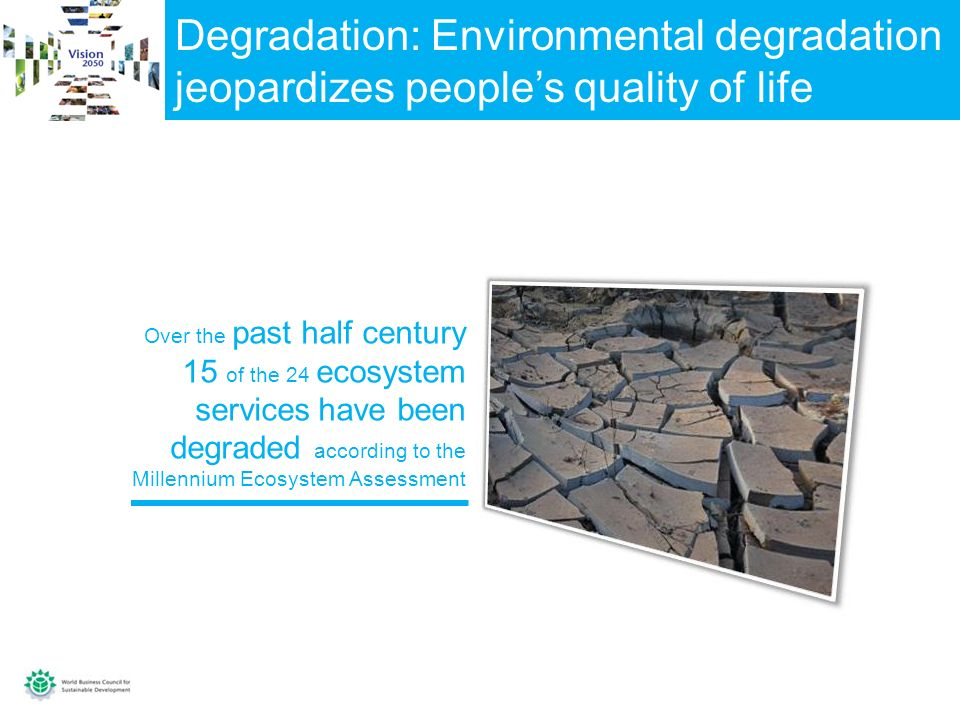 Degradation: Environmental degradation jeopardizes peoples quality of life Over the past half century 15 of the 24 ecosystem services have been degraded according to the Millennium Ecosystem Assessment