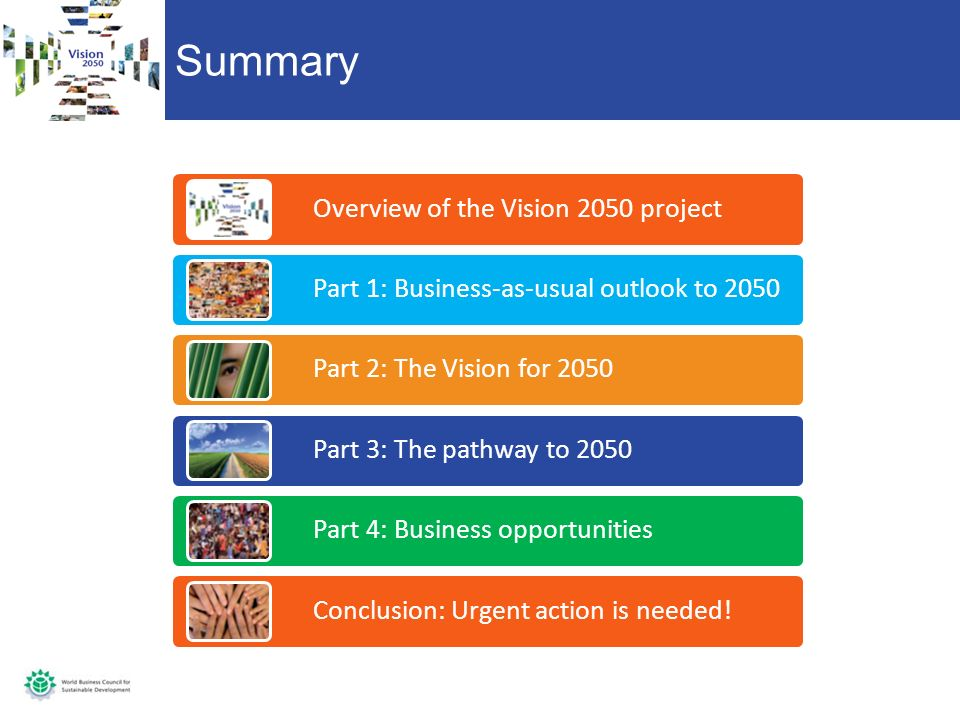 Summary Overview of the Vision 2050 project Part 1: Business-as-usual outlook to 2050 Part 2: The Vision for 2050 Part 3: The pathway to 2050 Part 4: Business opportunities Conclusion: Urgent action is needed!