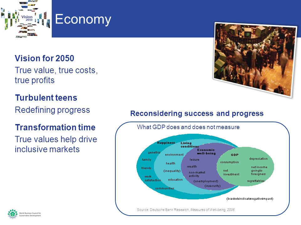 Economy Vision for 2050 True value, true costs, true profits Turbulent teens Redefining progress Transformation time True values help drive inclusive markets Source: Deutsche Bank Research, Measures of Well-being, 2006 What GDP does and does not measure Reconsidering success and progress