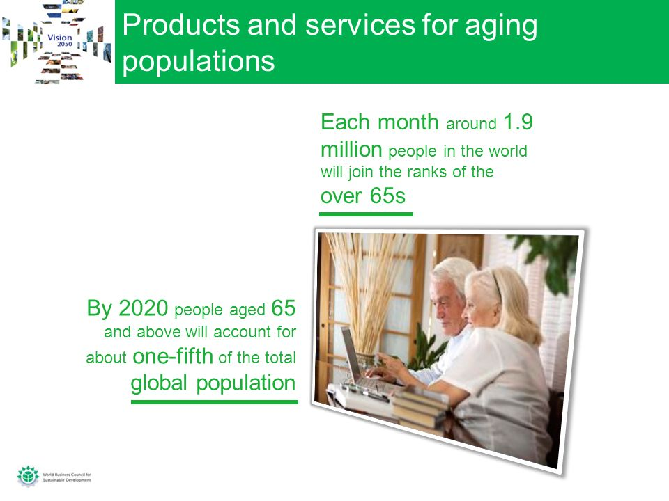 Products and services for aging populations By 2020 people aged 65 and above will account for about one-fifth of the total global population Each month around 1.9 million people in the world will join the ranks of the over 65s