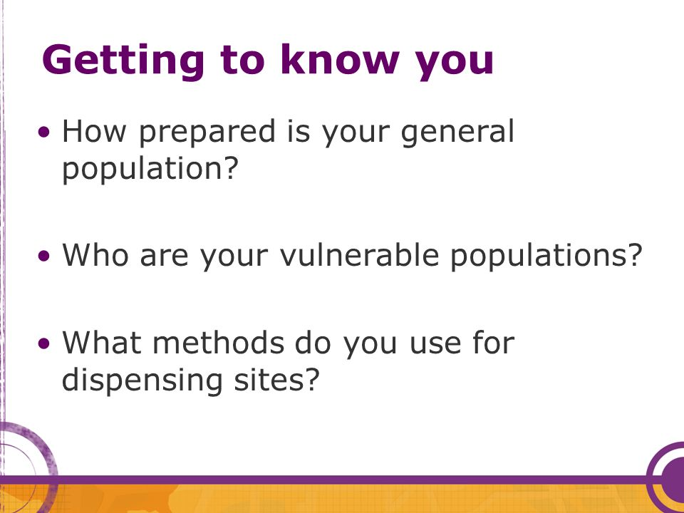 Getting to know you How prepared is your general population.