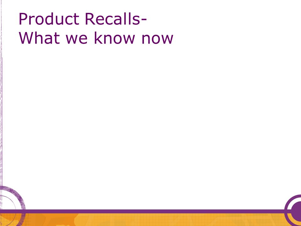 Product Recalls- What we know now