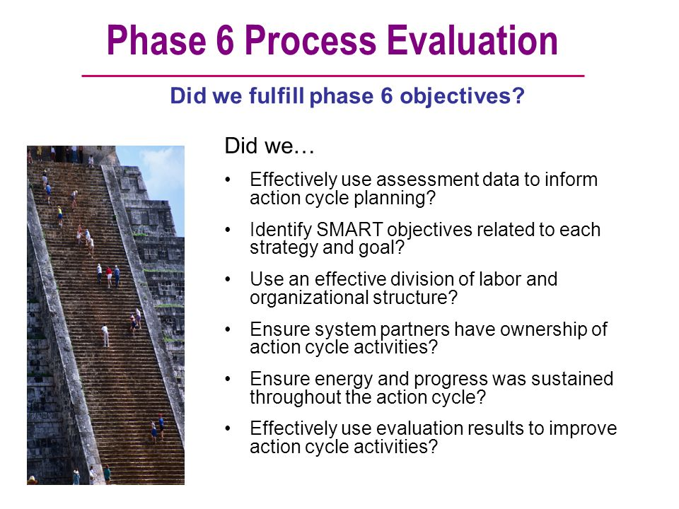 Phase 6 Process Evaluation Did we… Effectively use assessment data to inform action cycle planning? Identify SMART objectives related to each strategy