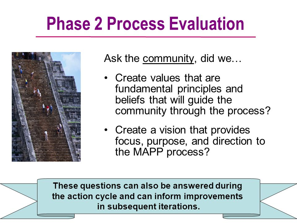 Phase 2 Process Evaluation Ask the community, did we… Create values that are fundamental principles and beliefs that will guide the community through