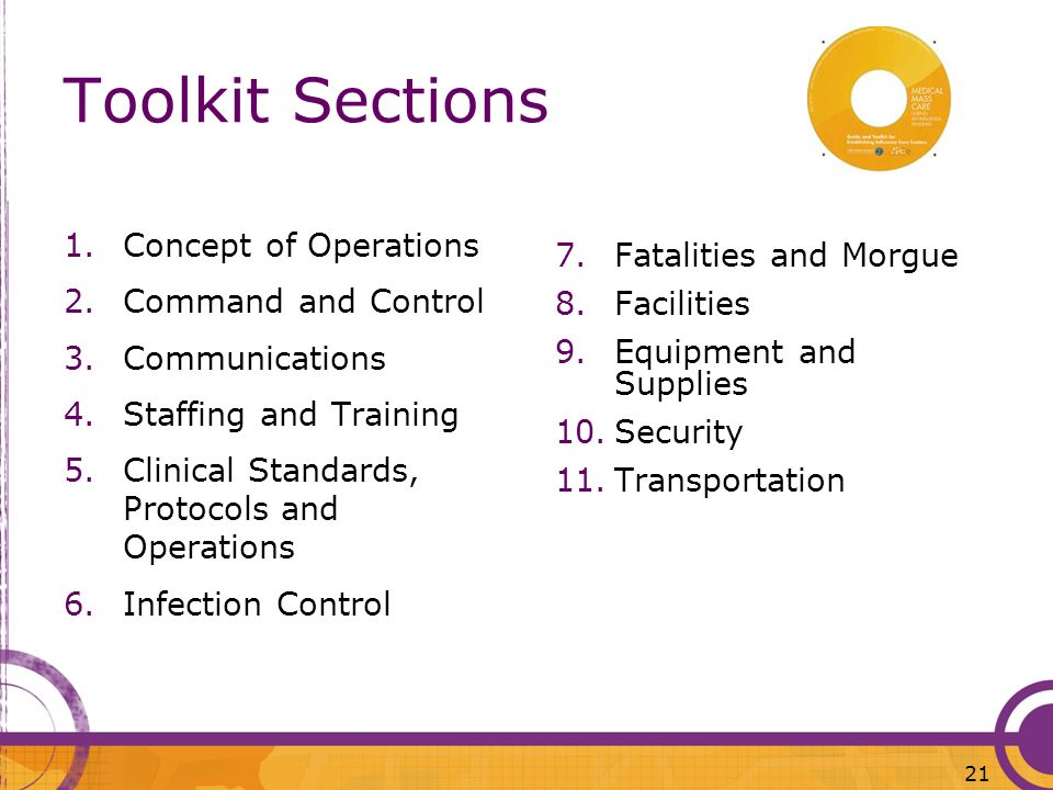 Toolkit Sections 1.Concept of Operations 2.Command and Control 3.Communications 4.Staffing and Training 5.Clinical Standards, Protocols and Operations