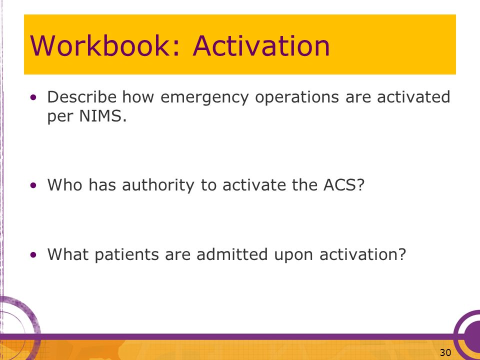 Workbook: Activation Describe how emergency operations are activated per NIMS. Who has authority to activate the ACS? What patients are admitted upon