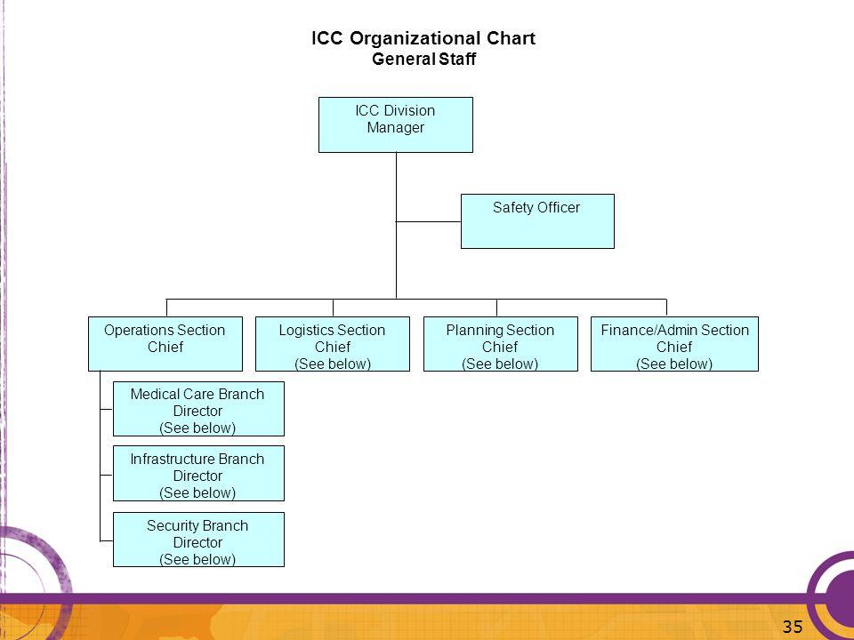 ICC Organizational Chart General Staff ICC Division Manager Safety Officer Operations Section Chief Finance/Admin Section Chief (See below) Medical Ca