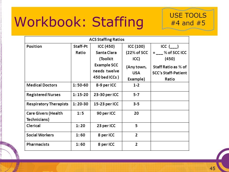 ACS Staffing Ratios Position Staff-Pt Ratio ICC (450) Santa Clara (Toolkit Example SCC needs twelve 450 bed ICCs ) ICC (100) (22% of SCC ICC) (Any tow