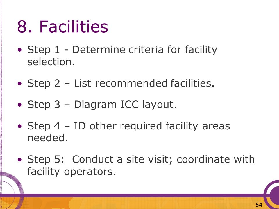 8. Facilities Step 1 - Determine criteria for facility selection. Step 2 – List recommended facilities. Step 3 – Diagram ICC layout. Step 4 – ID other