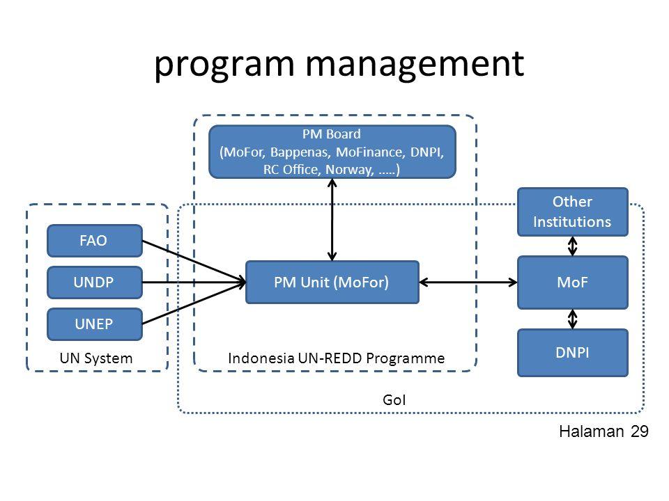 program management PM Board (MoFor, Bappenas, MoFinance, DNPI, RC Office, Norway,..…) UNDP UNEP FAO PM Unit (MoFor) MoF DNPI UN SystemIndonesia UN-RED