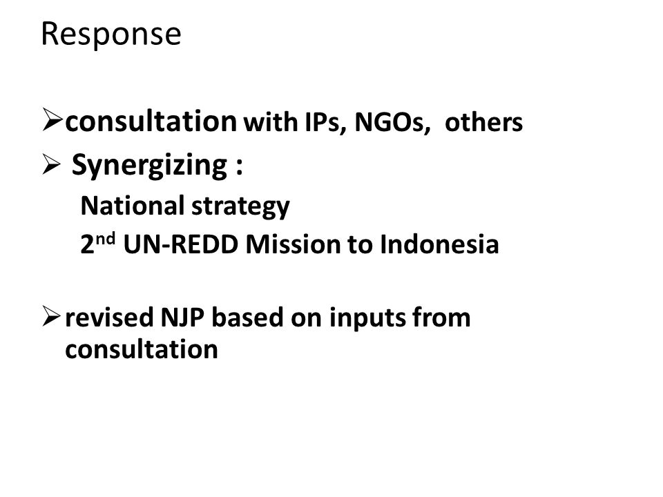 consultation with IPs, NGOs, others Synergizing : National strategy 2 nd UN-REDD Mission to Indonesia revised NJP based on inputs from consultation Re