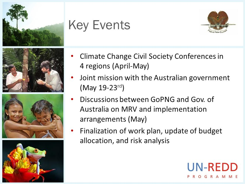 Climate Change Civil Society Conferences in 4 regions (April-May) Joint mission with the Australian government (May 19-23 rd ) Discussions between GoP