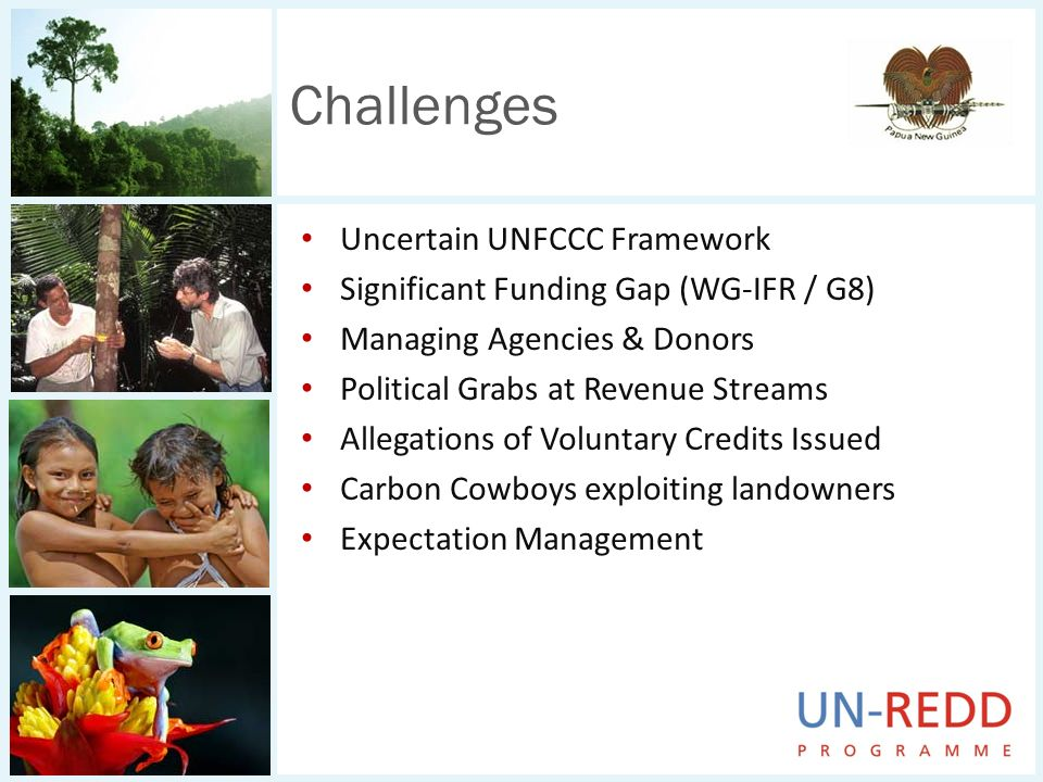 Uncertain UNFCCC Framework Significant Funding Gap (WG-IFR / G8) Managing Agencies & Donors Political Grabs at Revenue Streams Allegations of Voluntar