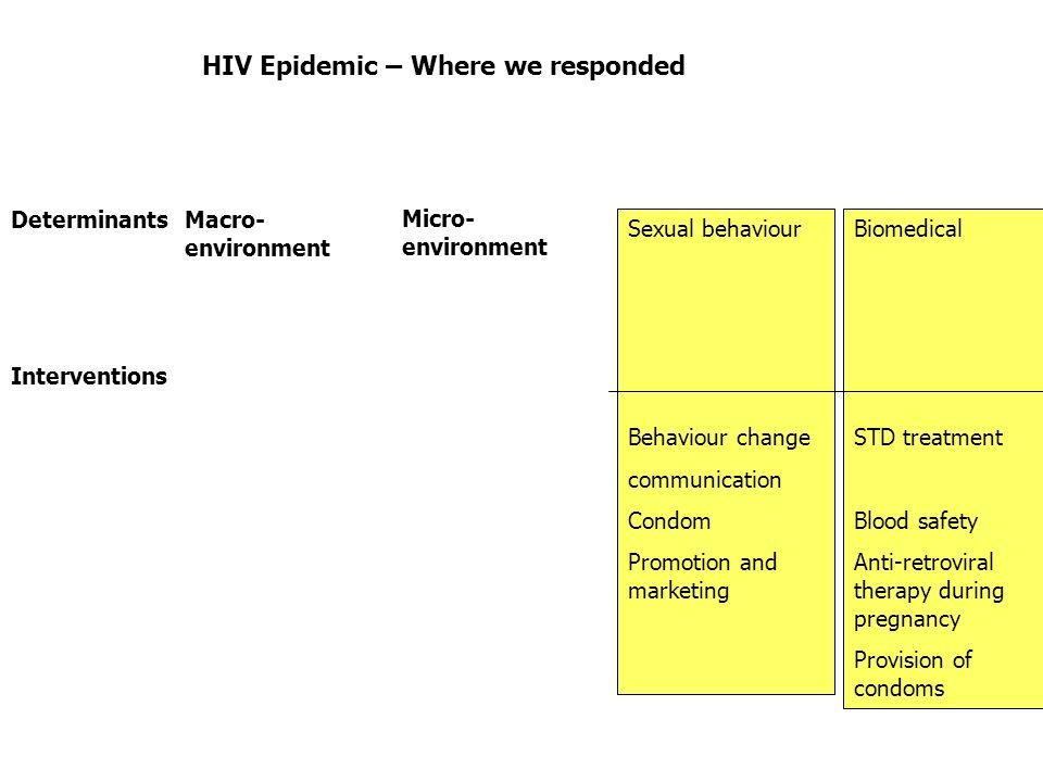 HIV Epidemic – Where we responded Determinants Biomedical STD treatment Blood safety Anti-retroviral therapy during pregnancy Provision of condoms Sexual behaviour Behaviour change communication Condom Promotion and marketing Micro- environment Macro- environment Interventions