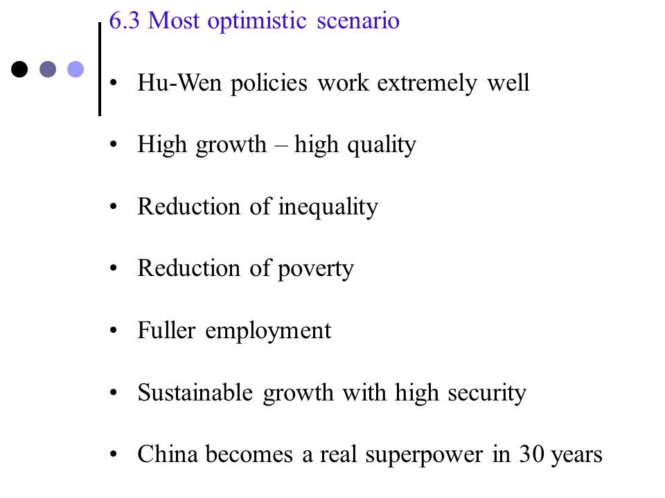 6.2Medium scenario Hu-Wen policies work reasonably well High growth – low quality Rising inequality Corruption partially controlled People unhappy, but the country is stable Similar to the present situation