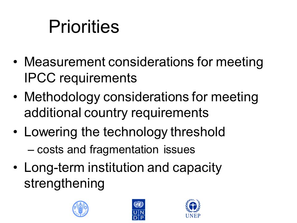 Priorities Measurement considerations for meeting IPCC requirements Methodology considerations for meeting additional country requirements Lowering the technology threshold –costs and fragmentation issues Long-term institution and capacity strengthening