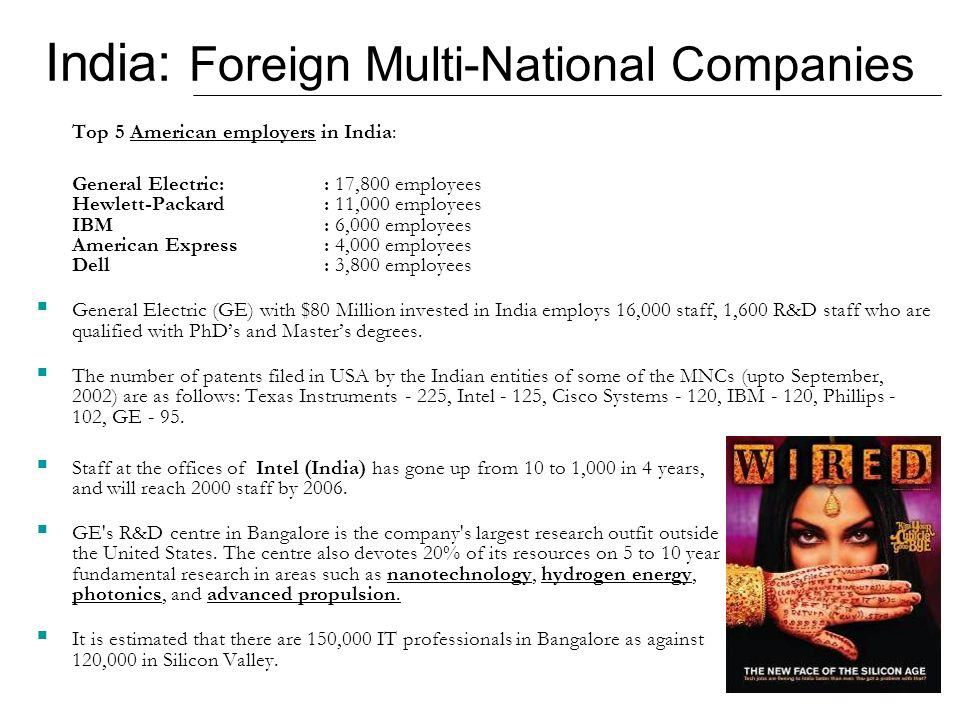 India: Foreign Multi-National Companies Top 5 American employers in India: General Electric:: 17,800 employees Hewlett-Packard: 11,000 employees IBM: 6,000 employees American Express: 4,000 employees Dell: 3,800 employees General Electric (GE) with $80 Million invested in India employs 16,000 staff, 1,600 R&D staff who are qualified with PhDs and Masters degrees.