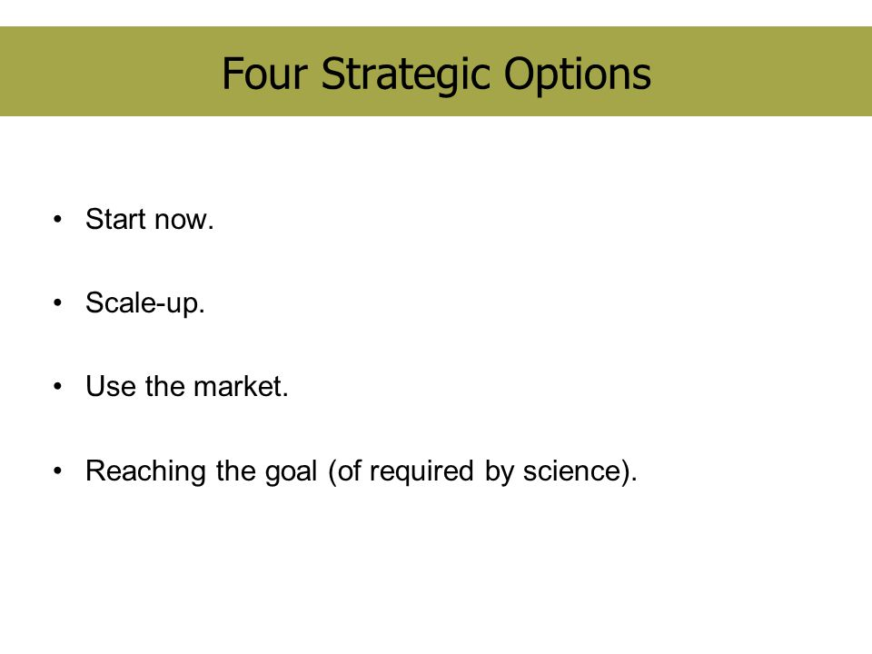 Four Strategic Options Start now.Scale-up. Use the market.