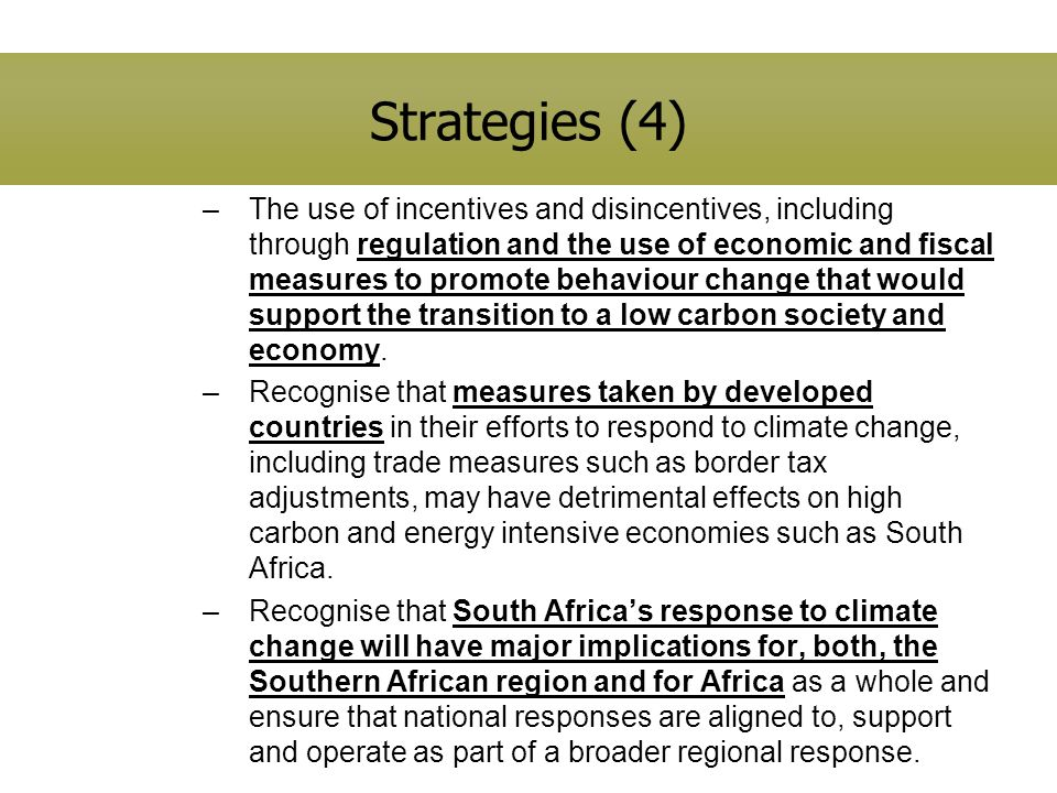 Strategies (4) –The use of incentives and disincentives, including through regulation and the use of economic and fiscal measures to promote behaviour