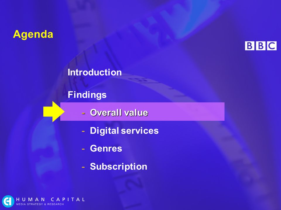 Agenda Introduction Findings -Overall value -Digital services -Genres -Subscription