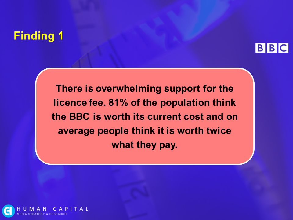 Finding 1 There is overwhelming support for the licence fee.